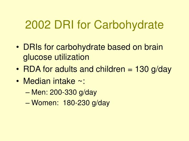 2002 dri for carbohydrate