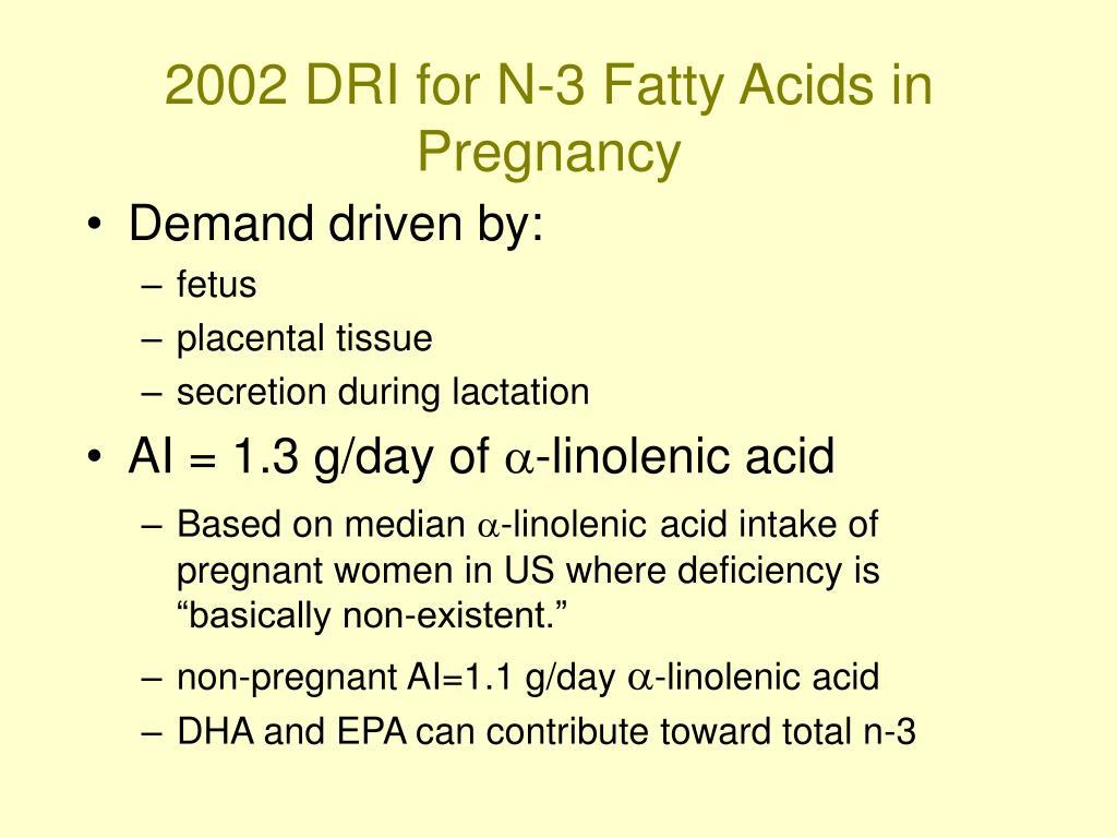 2002 DRI for N-3 Fatty Acids in Pregnancy