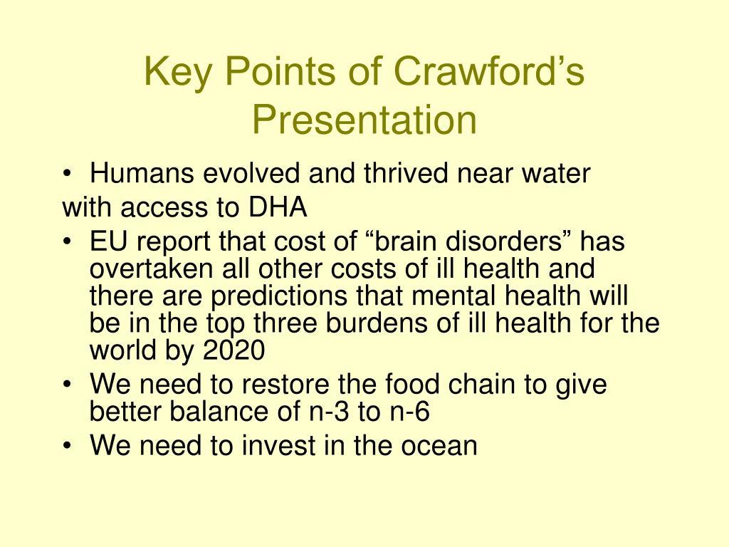 Key Points of Crawford's Presentation