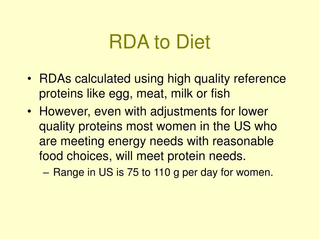 RDA to Diet