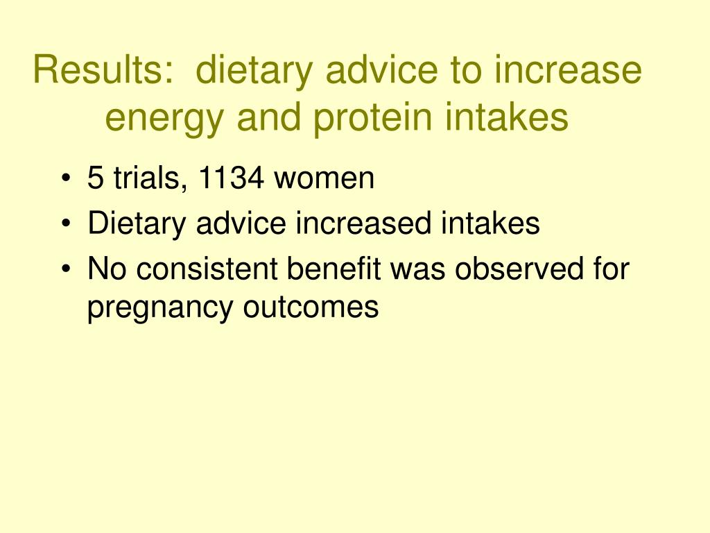 Results:  dietary advice to increase energy and protein intakes