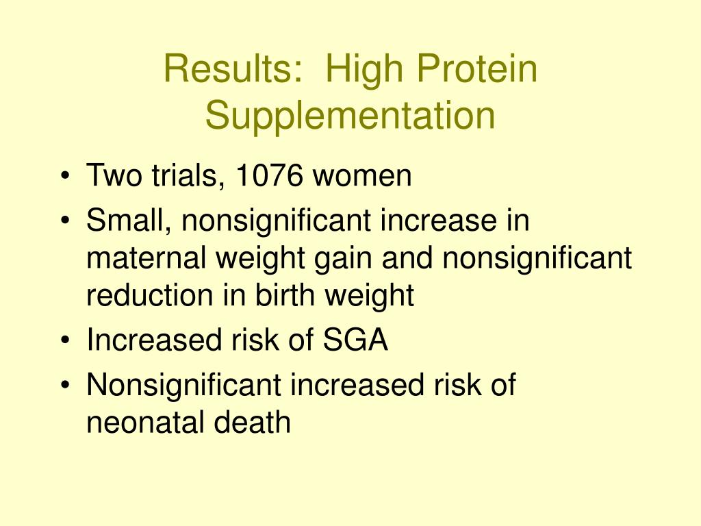 Results:  High Protein Supplementation