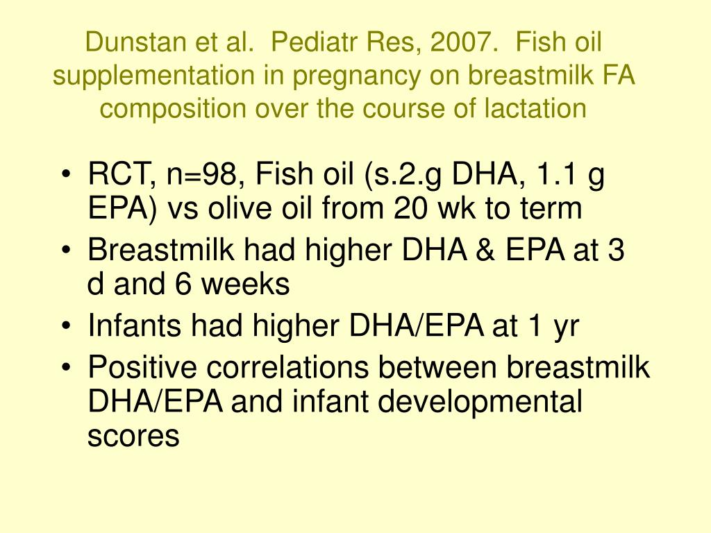 Dunstan et al.  Pediatr Res, 2007.  Fish oil supplementation in pregnancy on breastmilk FA composition over the course of lactation
