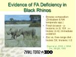 evidence of fa deficiency in black rhinos