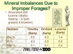 mineral imbalances due to improper forages