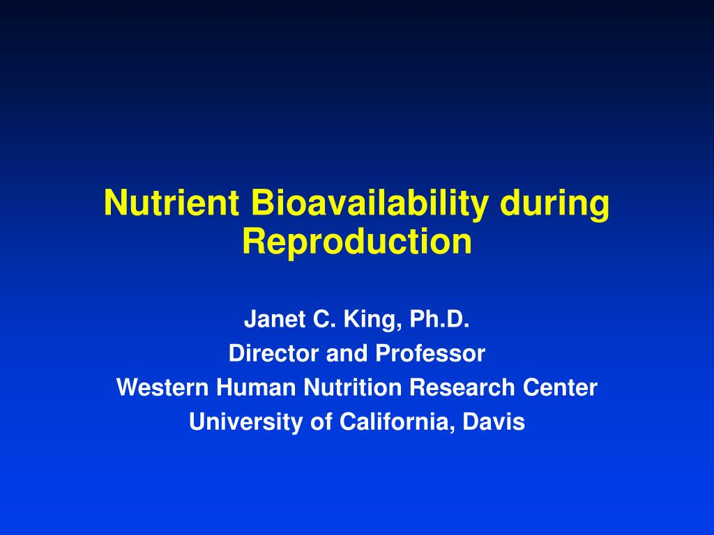Nutrient Bioavailability during Reproduction