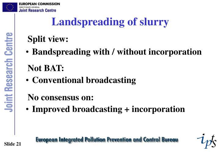 Landspreading of slurry