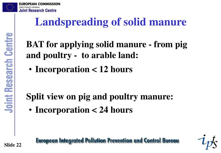 Landspreading of solid manure