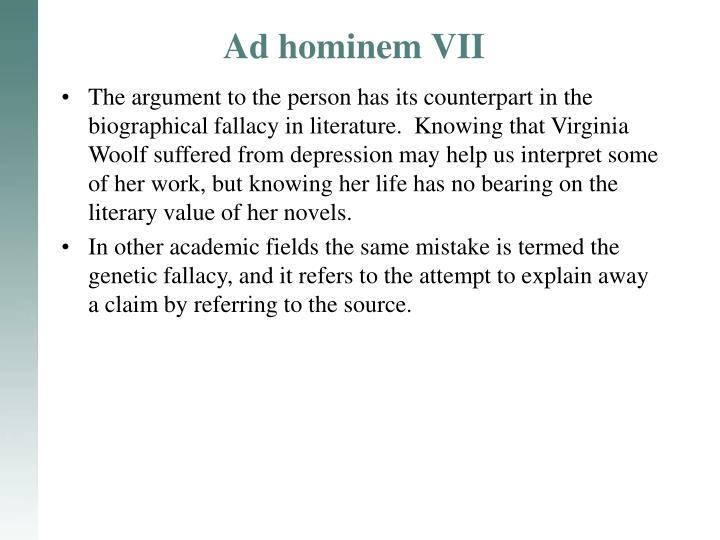 Ad hominem VII