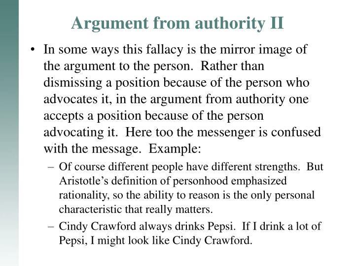 Argument from authority II