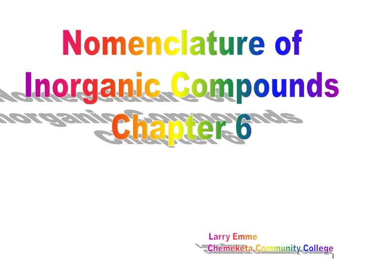Nomenclature of