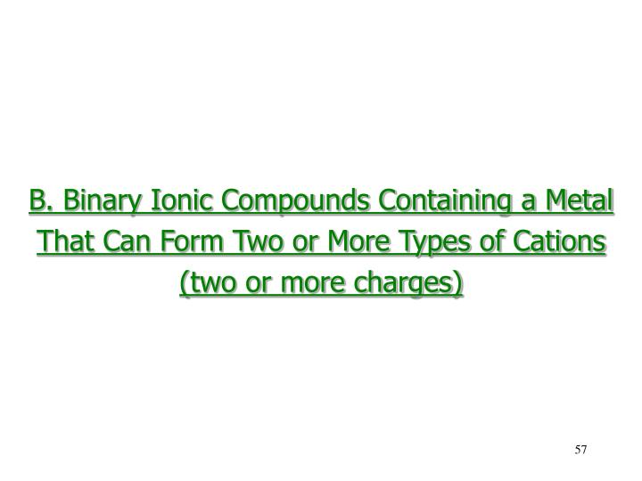 B. Binary Ionic Compounds Containing a Metal
