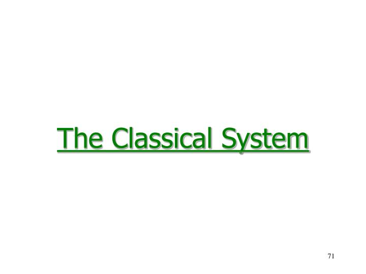 The Classical System