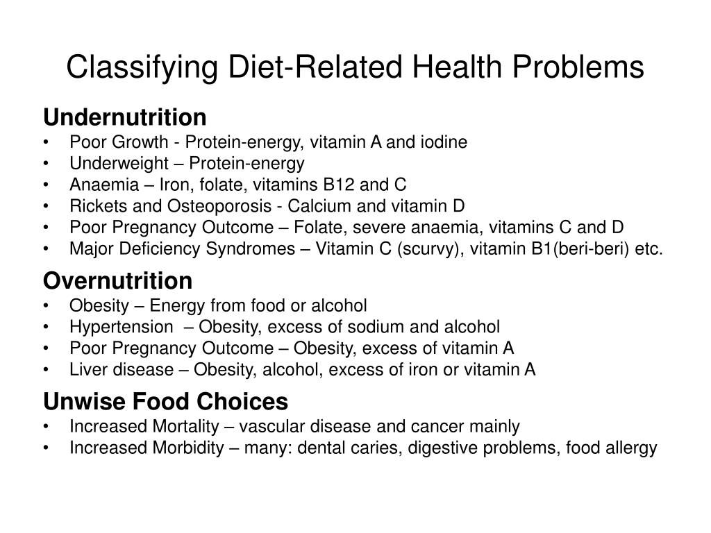 Classifying Diet-Related Health Problems