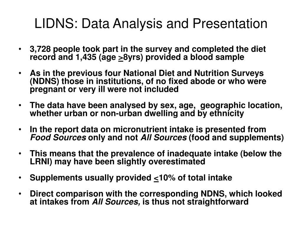 LIDNS: Data Analysis and Presentation