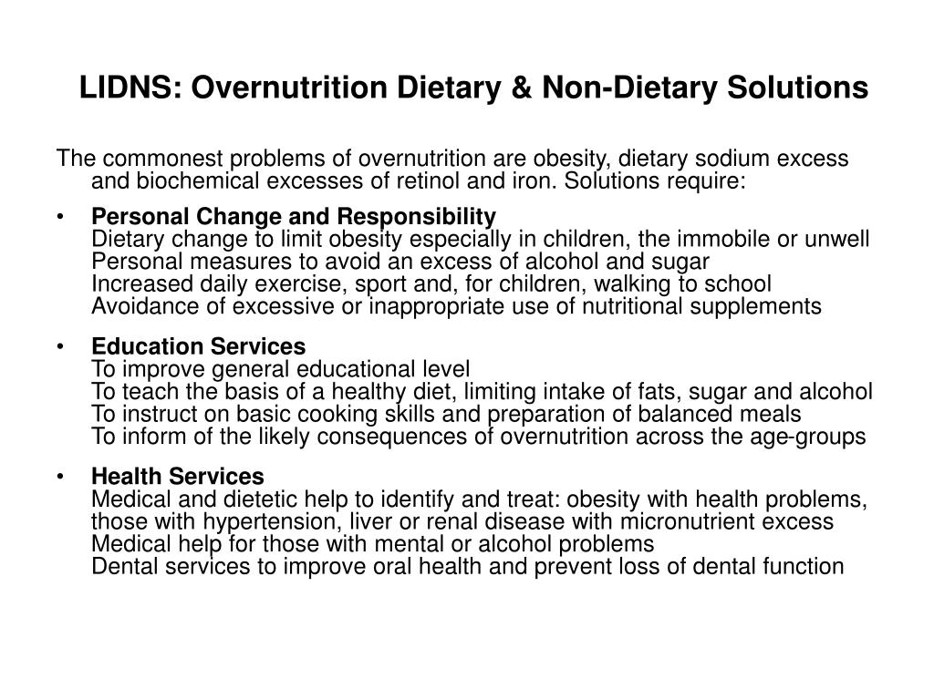 LIDNS: Overnutrition Dietary & Non-Dietary Solutions