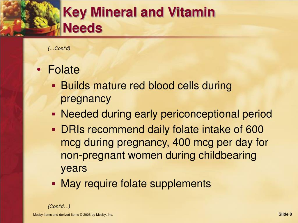Key Mineral and Vitamin Needs