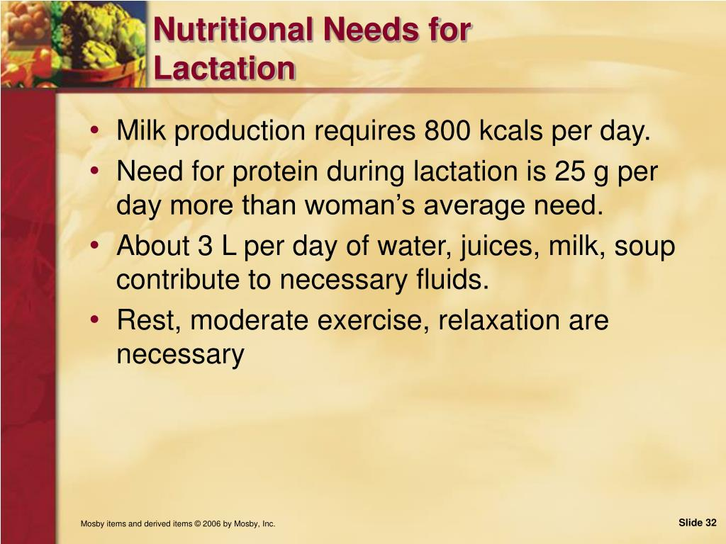 Nutritional Needs for Lactation