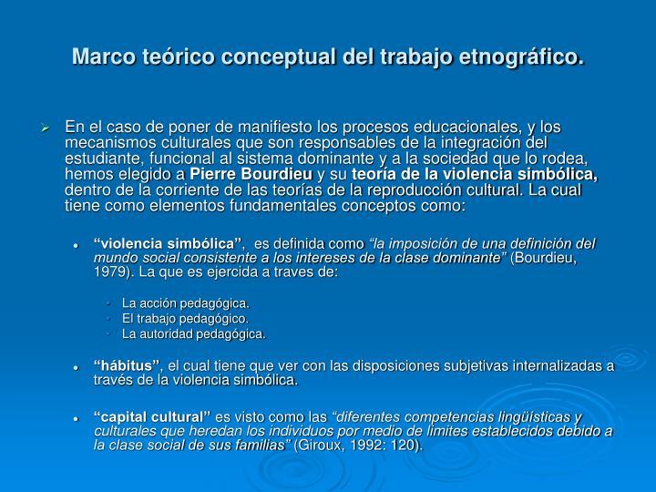 Marco teórico conceptual del trabajo etnográfico.