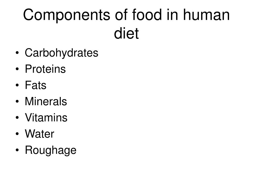 Components of food in human diet