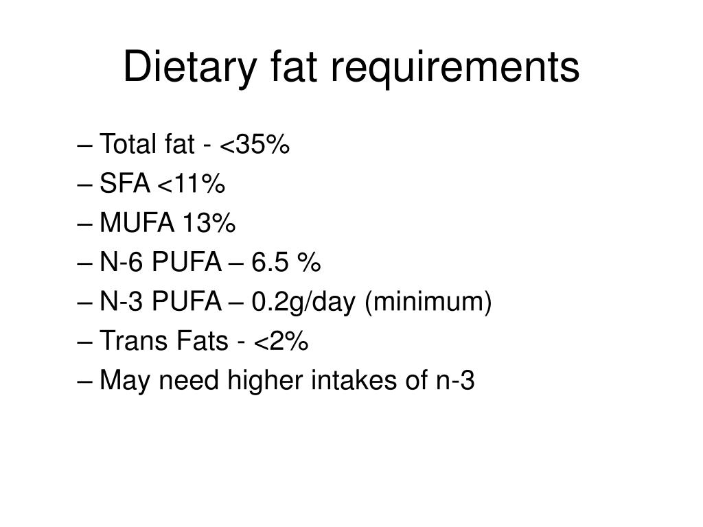 Dietary fat requirements