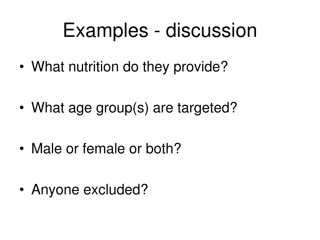Examples - discussion