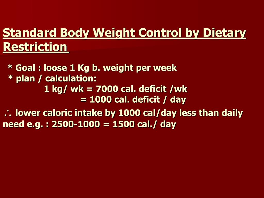 Standard Body Weight Control by Dietary