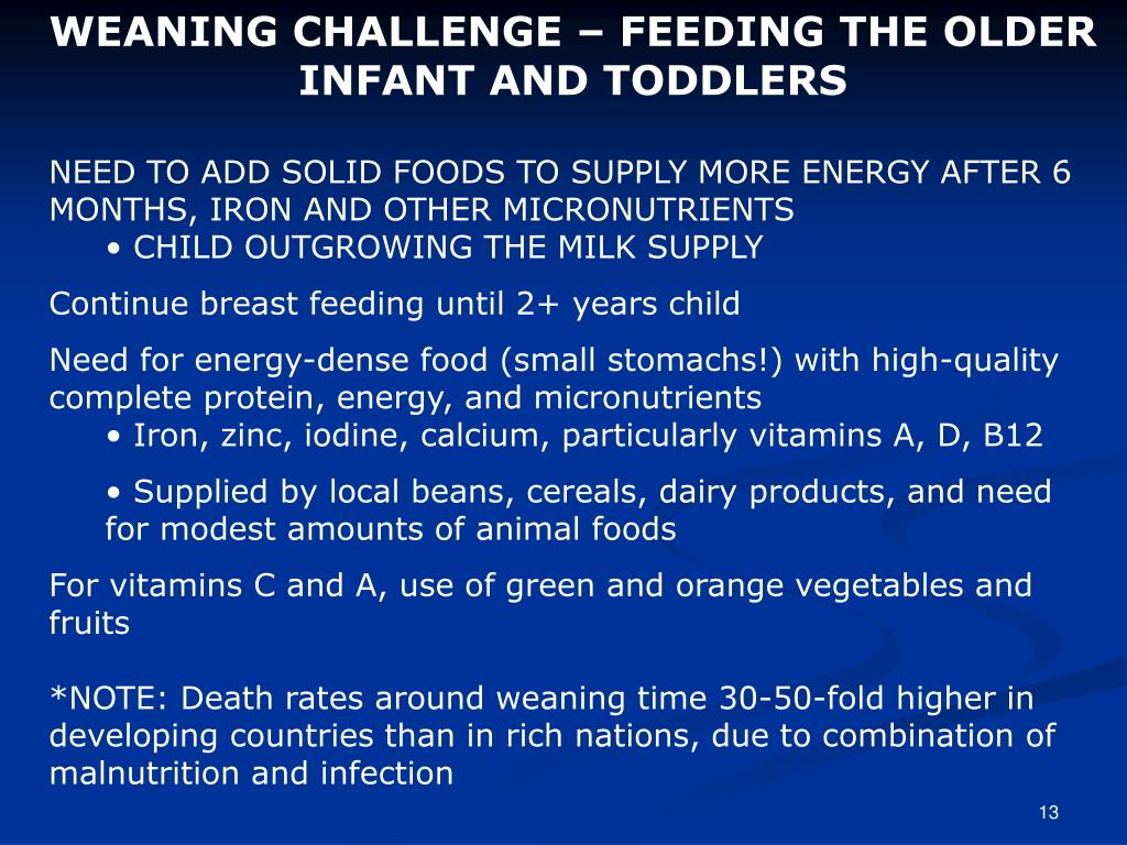 WEANING CHALLENGE – FEEDING THE OLDER INFANT AND TODDLERS