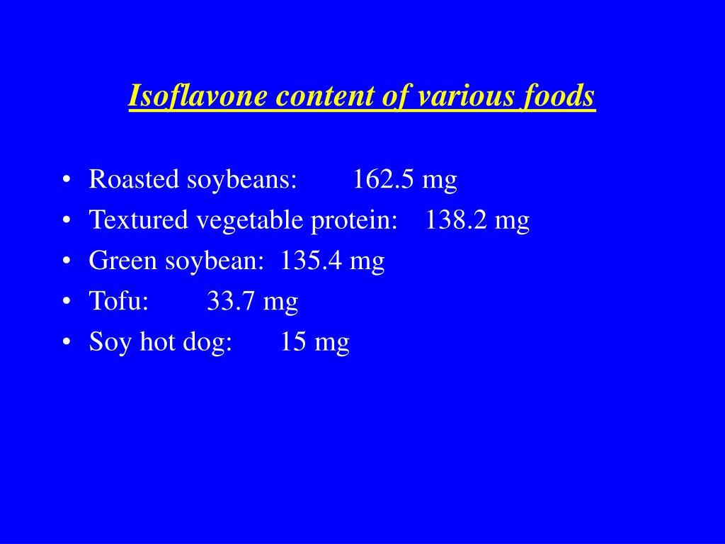 Isoflavone content of various foods