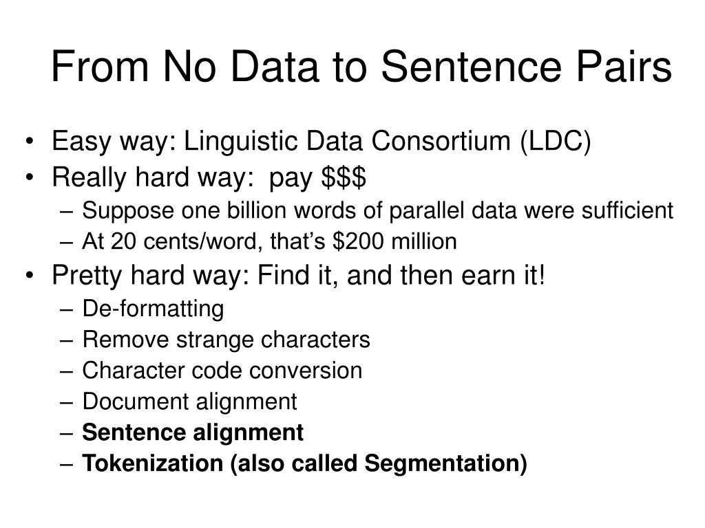 From No Data to Sentence Pairs