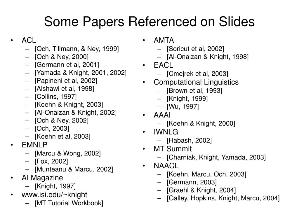 Some Papers Referenced on Slides