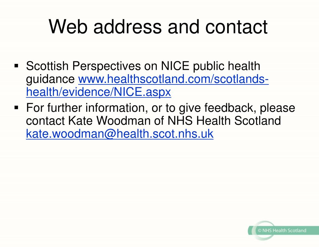 Web address and contact