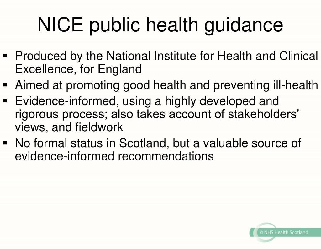NICE public health guidance