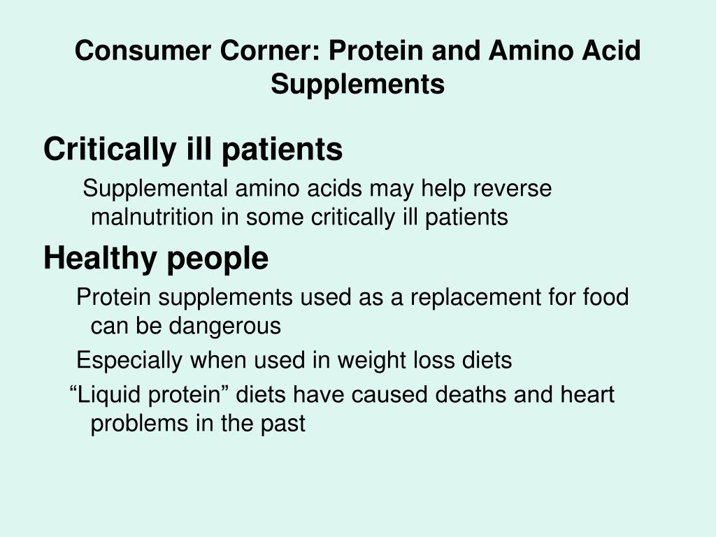 Consumer Corner: Protein and Amino Acid Supplements