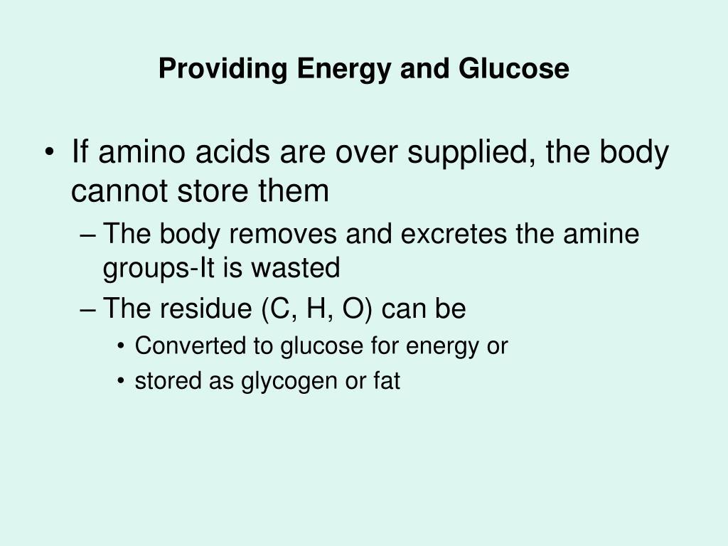 Providing Energy and Glucose