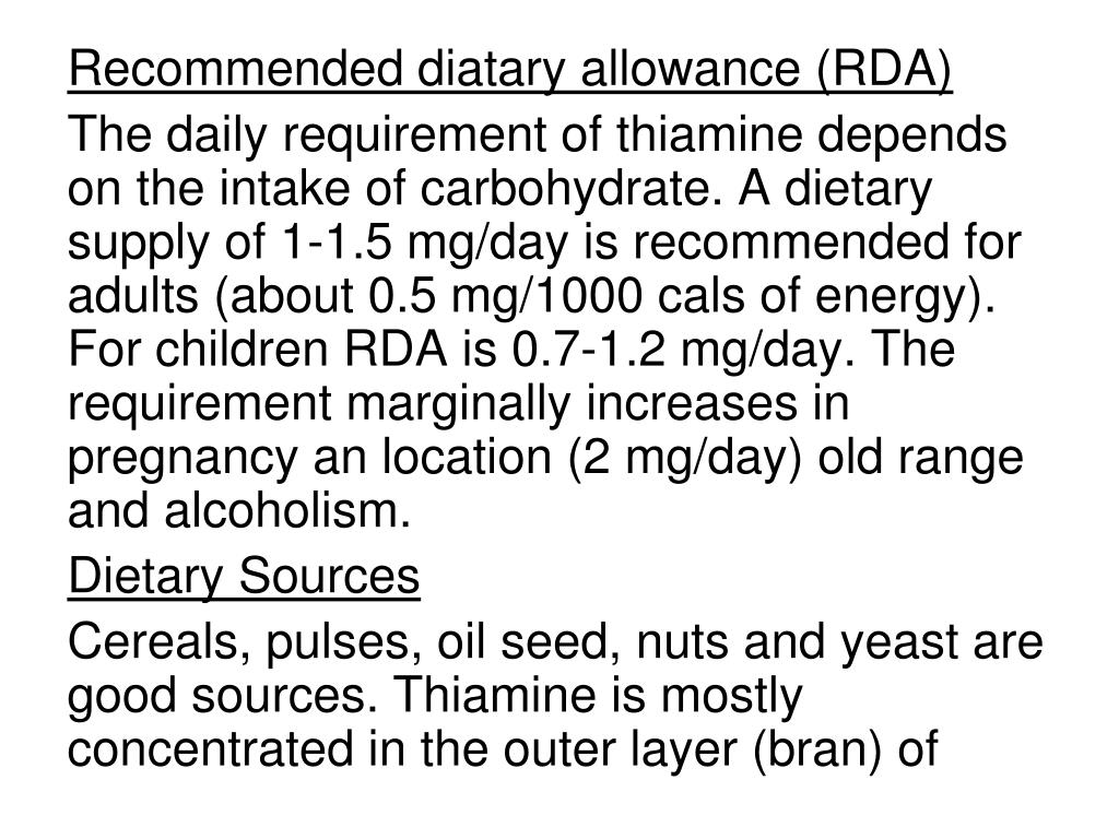 Recommended diatary allowance (RDA)