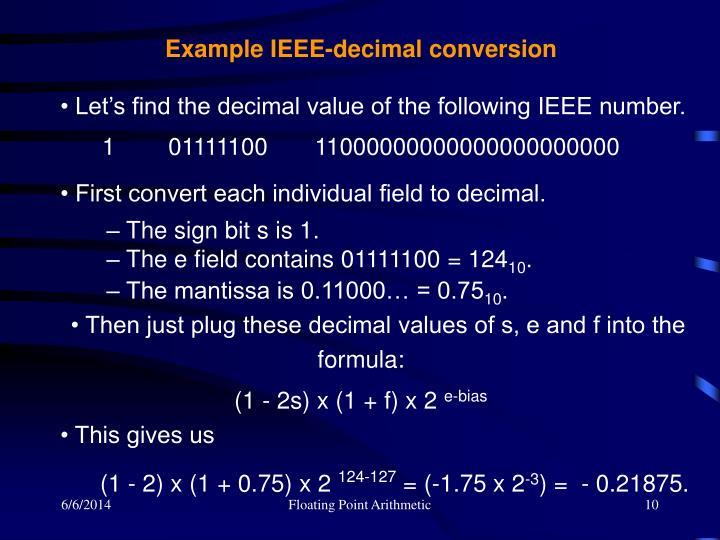 Example IEEE-decimal conversion