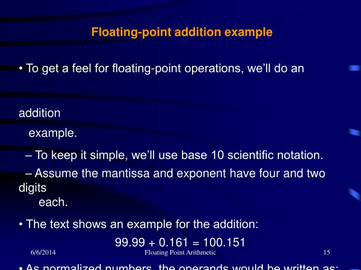 Floating-point addition example