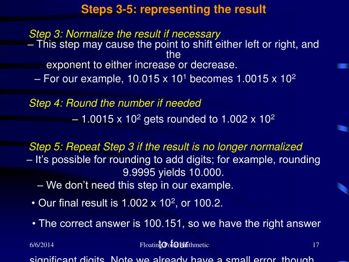 Steps 3-5: representing the result