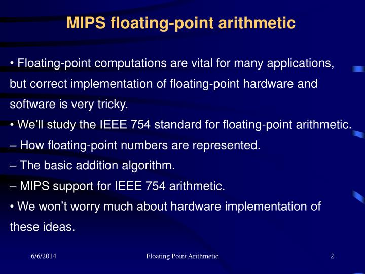 MIPS floating-point arithmetic