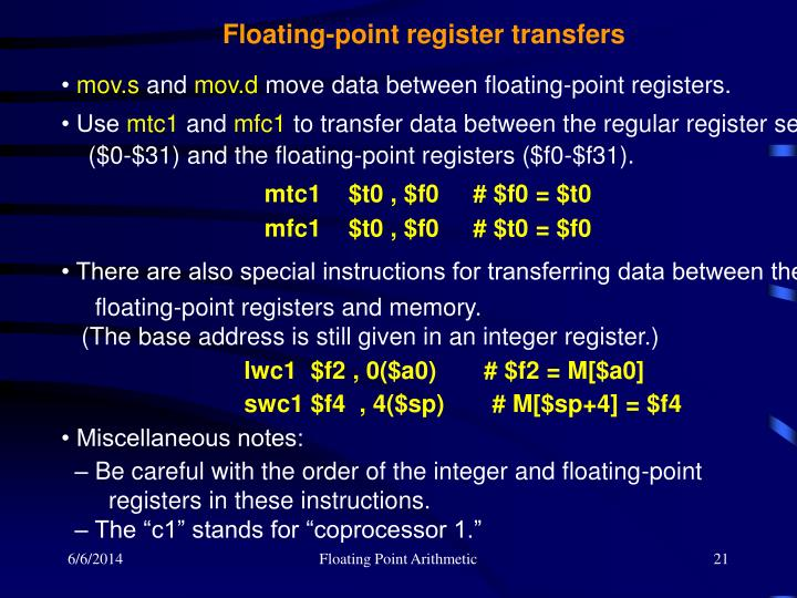 Floating-point register transfers