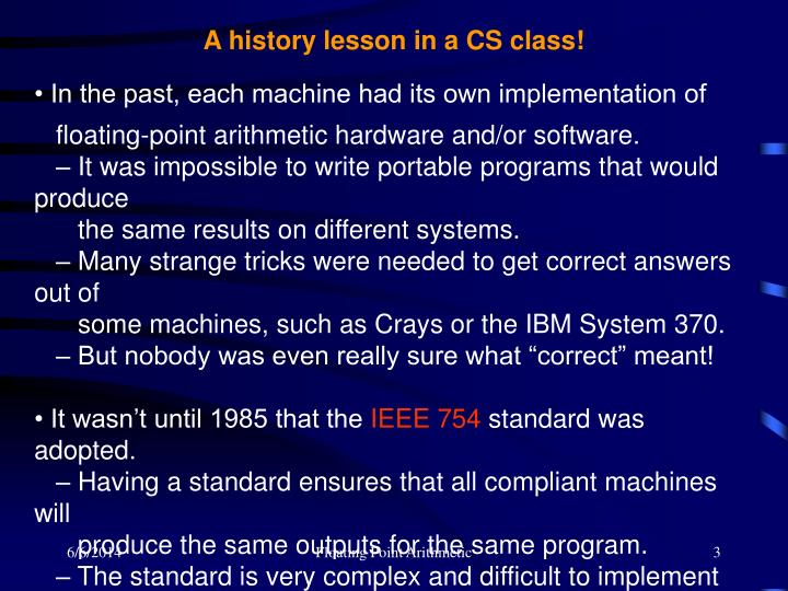 A history lesson in a CS class!