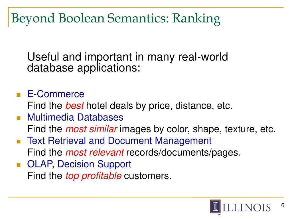 Beyond Boolean Semantics: Ranking