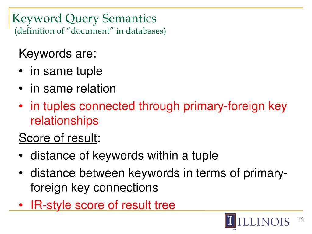 Keyword Query Semantics