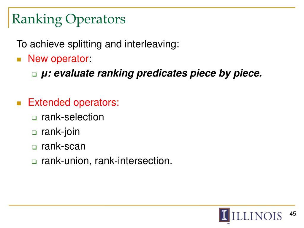 Ranking Operators