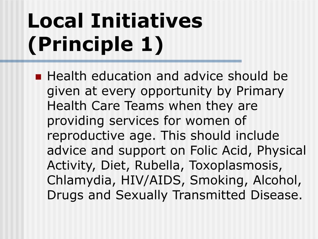 Local Initiatives (Principle 1)