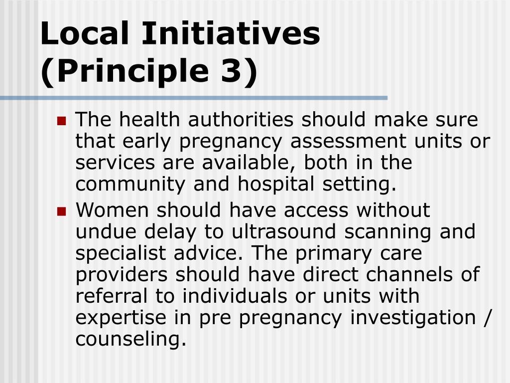 Local Initiatives (Principle 3)