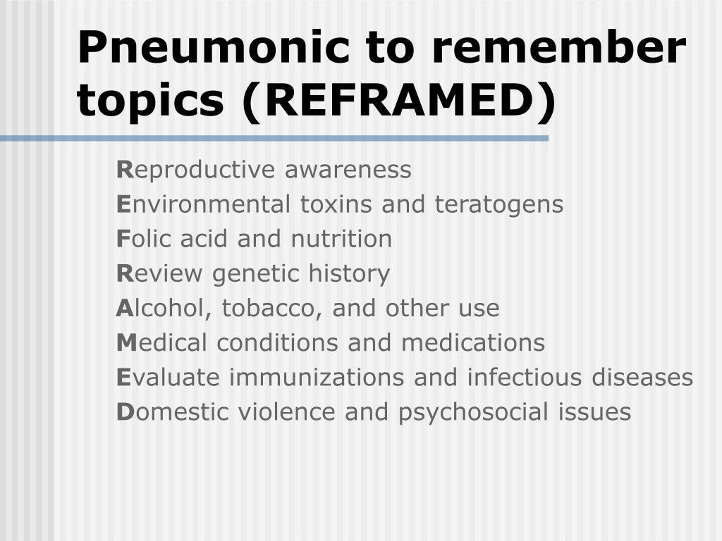 Pneumonic to remember topics (REFRAMED)