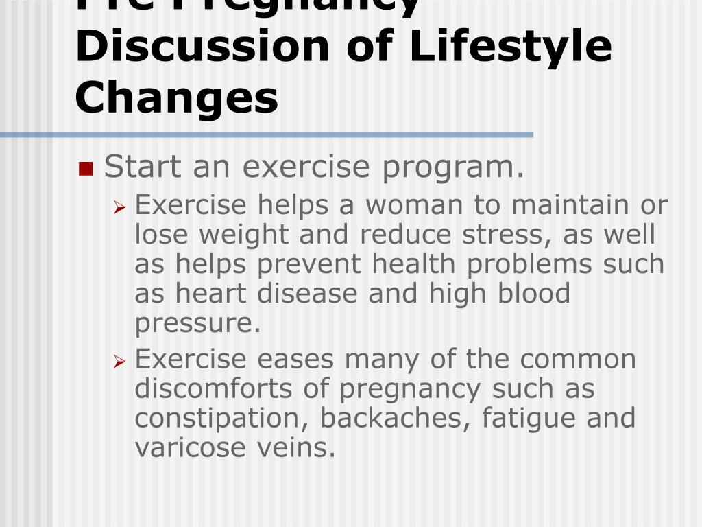 Pre Pregnancy Discussion of Lifestyle Changes