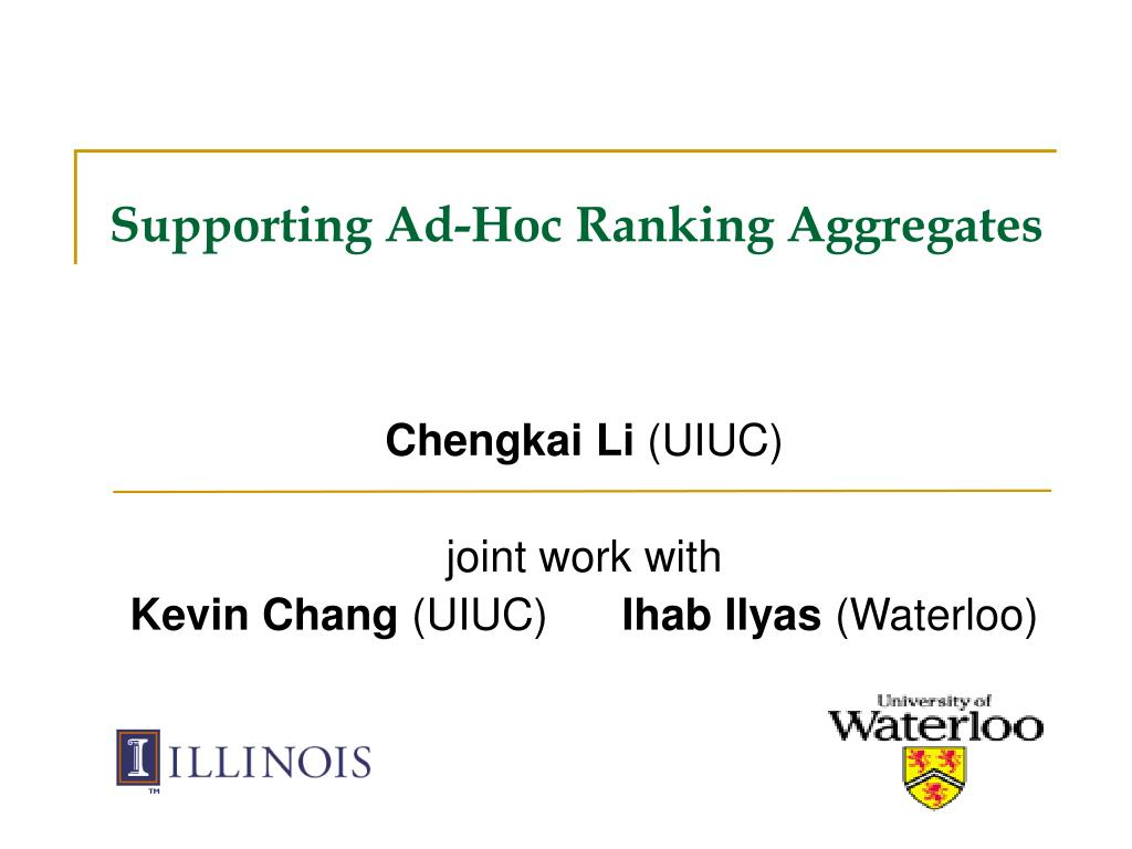 supporting ad hoc ranking aggregates